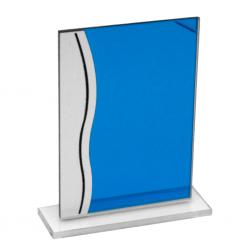 Trofeo de Cristal Azul con Borde Ondulado
